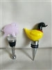 A Duck and a Pig piglet art glass bottle stoppers