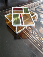 Stained glass multi color storage box vintage