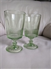 Green glass water goblets starburst square bottom