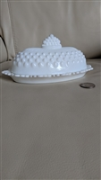 Fenton milk glass oval covered butter dish