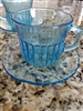 Fortecrisa electric blue glass teacup and saucer