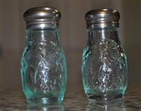 Aqua embossed glass salt and pepper shakers