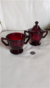 Ruby Red vintage glass sugar bowls Anchor Hocking