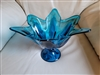 Tulip Blue glass pedestal bowl