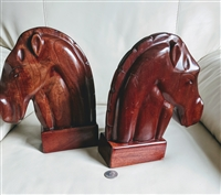 Carib Craft solid Mahogany Horse Head bookends