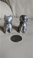 Metal cat and dog salt and pepper shakers