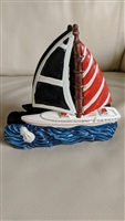 Yacht shaped vintage napkin holder Nautical theme table accessory.