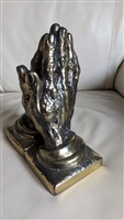 Praying hands bookends by IM company gold tone