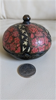 Round paper mache trinket box burgundy black color