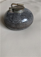 Inkwell marbled ceramic with metal collar brass