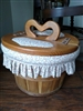 Wooden fruit basket storage with heart handle