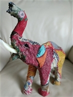 Paper mache elephant Sari fabric cover