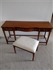Gordon's vintage wooden desk with stool