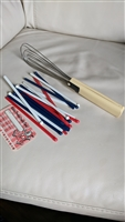 Vintage hand whisk and stiring sticks plastic
