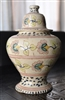 Portuguese terracotta clay floral lidded urn