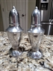 Silver tone metal salt and pepper shakers