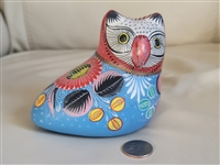 Mexican terracotta Owl in colorful finish