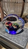 Vintage clear glass paperweight with reef and fish