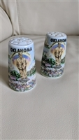 Thrifco porcelain Oklahoma themed set of shakers