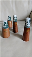 Vintage teak wood and porcelain shakers