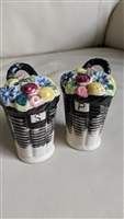 Vintage tall floral basket porcelain shakers