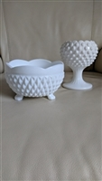 Indiana glass footed bowl and Ivy vase in hobnail