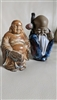 Shiwan Longevity Man and Japanese Buddha figurines