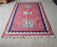 Vintage JUTE woven rug with Elephant center decor