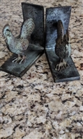 Cast iron Roosters bookend in antique patina