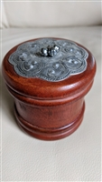 Ornate small trinket wooden box metal accent lid