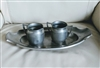Manning Bowman pewter serving tray set decor