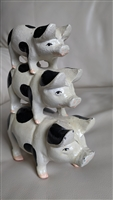 Set of cast iron 3 stack on pigs doorstop bookend