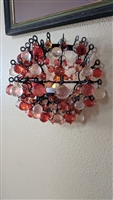 Metal and chandelier beads wall candle holder