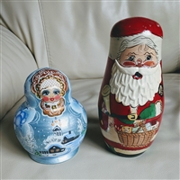 Matryoshka nesting doll Santa Claus and Ms Claus