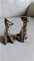Vintage metal cats paperweights