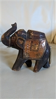 Antique wooden hand carved elephant brass copper