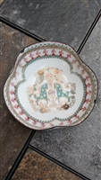 Austrian enamel metal plate with horses decor