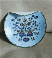 Austrian enamelware metal Folk Art decorated plate