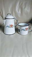Vintage small metal pitcher and cup set