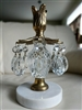 Candle holder in metal brass glass and crystal