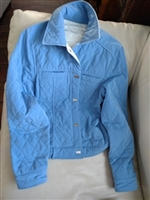 Reversible quilted Spring jacket sz lg wt and blue