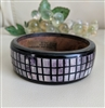 Bangle wooden bracelet with mosaic bone inlay