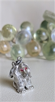 MONET satin silver color sitting puppy dog charm
