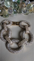 Pave large chain links bracelet elegant design