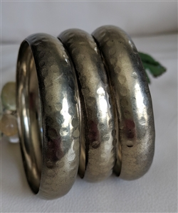 Gold tone hand hammered design bangles set of 3