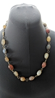 Multi color stone pebbles handmade necklace