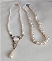Set of vintage faux pearl necklaces one pendant
