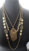 Vintage set of 3 necklaces metal gold tone
