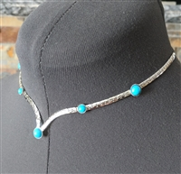 Sarah Coy designer necklace choker with blue beads