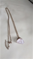Pink Quartz pendant gold color chain necklace